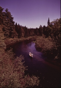 A Paddler on the Moose River of the Adirondacks